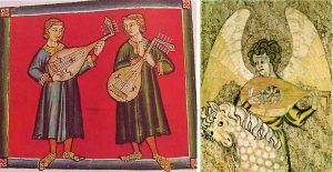 Left: Ouds as depicted in the Cantigas de Santa Maria, 1260-80. Be careful about the number of strings and pegs shown: mediaeval portrayers of stringed instruments sometimes showed the general outline and characteristics and then included a random number of strings and pegs. The oud on the left has 9 strings and 9 pegs; on the right we have 9 strings and 12 pegs. Mediaeval artists had also not yet got to grips with dimensions and perspective – that would come in the renaissance – so the pegbox, instead of being at an angle back from the neck, is shown helpfully flattened upwards so we can see it. There is a hint of 3D, though: I love the way the musicians are standing with one foot on the frame, the other foot coming towards us beyond the frame. Right: One of the first depictions of the transformation from oud to mediaeval lute, c. 1300, embroidered on the Steeple Aston cope, England.