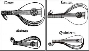 Lute and quintern (mandore) in Sebastian Virdung's Musica getutscht, published in Basel in 1511 on the left; and the same two instruments on the right from Martin Agricola, Musica instrumentalis deudsch, published in Wittenberg in 1529.