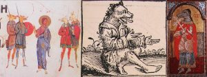 Left to right: dog-heads in the Kiev Psalter, Ukraine, 1397; in the Nuremberg Chronicle, 1493; ikon of Saint Christopher, Athens, 17th century Byzantium.
