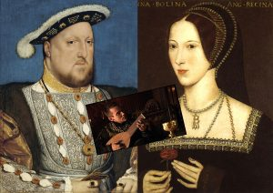 Left: Henry VIII by Hans Holbein the Younger, c. 1537. Right: Late Elizabethan portrait of Anne Boleyn, possibly from a lost original of 1533–36. Inset: Henry VIII as portrayed in The Tudors, composing Greensleeves for Anne Boleyn.