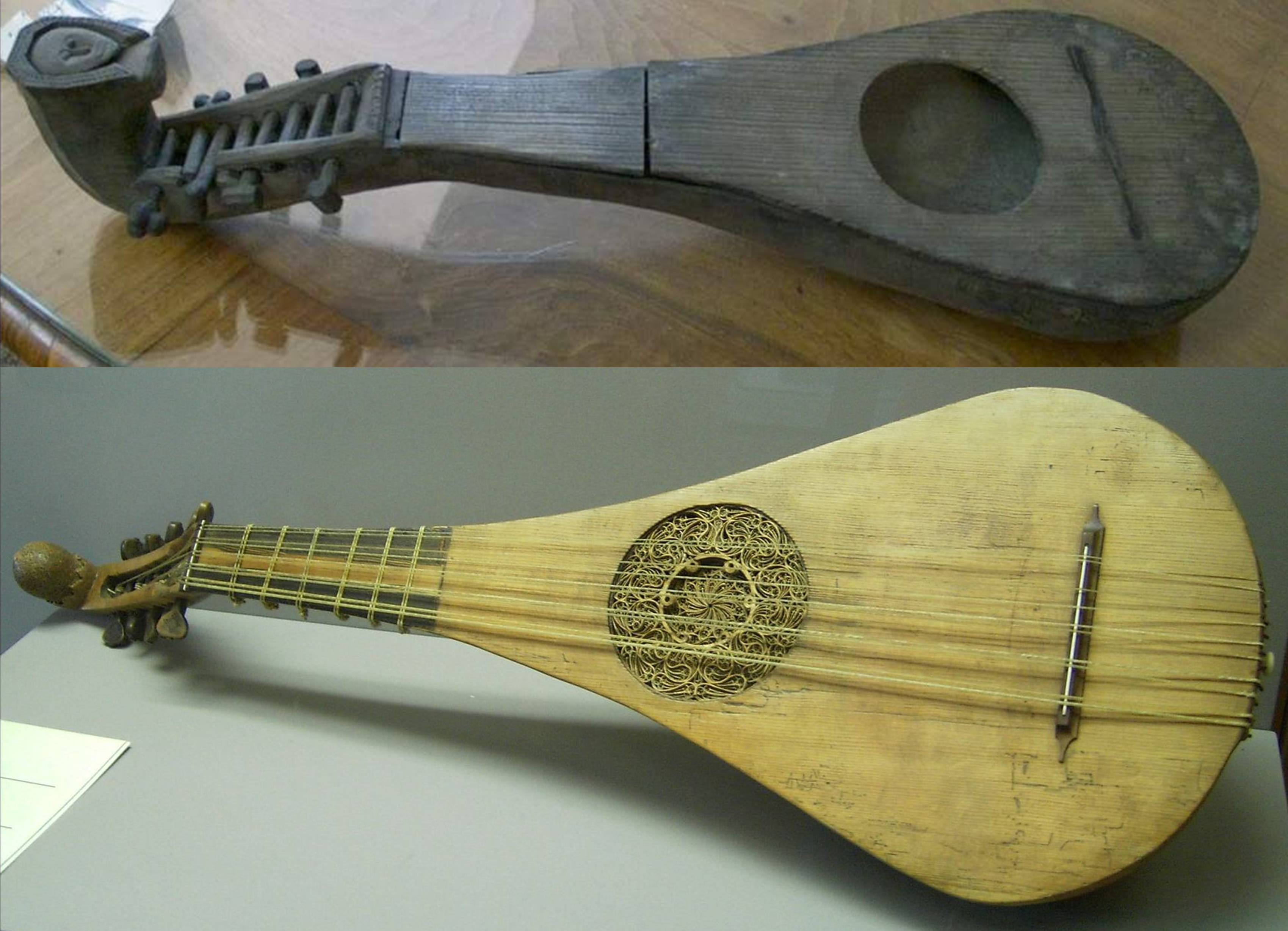 Above, the 4 course gittern excavated from a latrine in the city of Elblag / Elbing, southeast of Danzig, Poland, and dated to c. 1350. Also found were a recorder and fidel. Vibrating string length of around 31cm. Below, 5 course gittern by Hans Ott, who made instruments in Nuremburg from 1432 to 1463. This instrument is dated to c. 1450, and is now in Wartburg, Eisenach, Germany. Vibrating string length of 44cm.