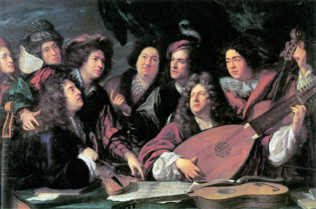 A portrait of musicians and artists by François Puget, 1688. The two key seated figures may well be the composer Jean-Baptiste Lully and librettist Philippe Quinault.