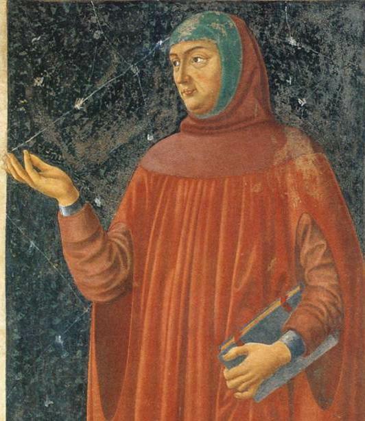 Francesco Petrarcha or Petrarch, 1304–1374, one of the creators, possibly the original creator, of the idea of an Italian renaissance, painted by Andrea del Castagno, c. 1421–1457.