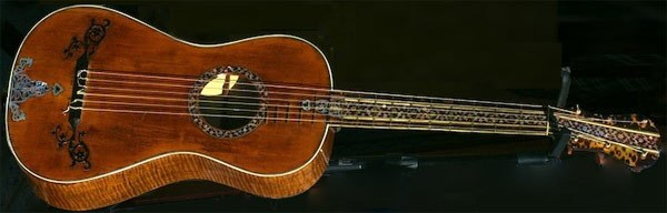The first surviving 6 string guitar was built in 1791 by Giovanni Battista Fabricatore in Naples. This is one of Fabricatore's 6 string guitars from 1795 or 1798.
