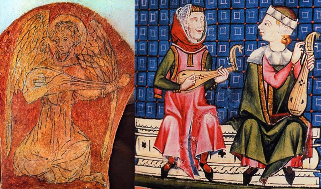 Left: Possibly the earliest depiction of a gittern, painted on a pillar of the Bayeux Cathedral crypt, 11th century, Normandy. Right: Gittern on the left and rebec on the right, as portrayed in the Cantigas de Santa Maria, 1260-80. The gittern and rebec were essentially the same bowl-back instrument carved from a solid piece of wood, but the gittern was plucked and fretted and the rebec was bowed and unfretted, which meant they had different bridges. If this representation is entirely accurate, then both instruments in this time and place shared 3 single strings and D shaped sound holes, unlike other depictions showing courses (pairs of strings) and a rose (decorated sound-hole).