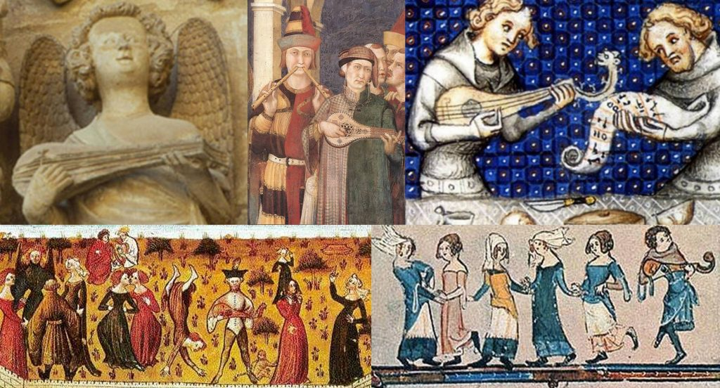 The many uses of a gittern. Top, left to right: Religious use, as seen on the Apostle's Door, Valencia Cathedral, Spain, 14th century. Royal service, a detail from Simone Martini, 14th century, Saint Martin is knighted. To accompany a singer, from The Ethics Of Aristotle, translated from Latin to French by Nicole Oresme in 1376 by order of King Charles V of France. Bottom left: To accompany dancing (left) and singing (right), a miniature from Romaun de la Rose (Romance of the Rose), France, c.1230–1275. Bottom right: Dancing, from the margin of a Flemish manuscript, 1338-44 (Bodl Lib 26).