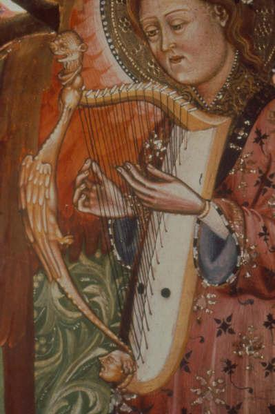 Arpa doble from the Monasterio de Piedra triptych, Spain, c. 1390.