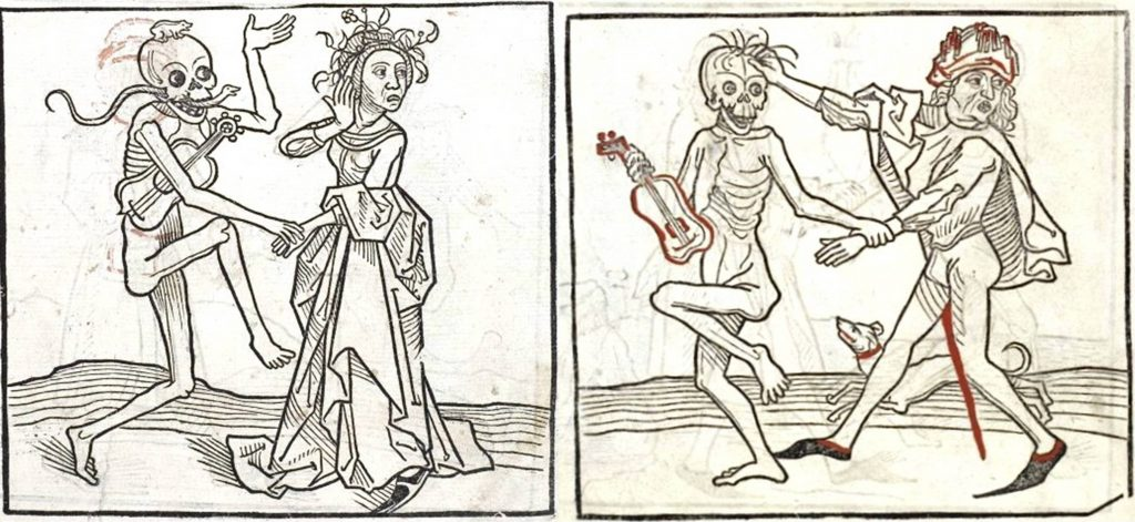 Two renaissance guitars as represented in the woodcuts of the German Heidelberger Totentanz, 1488. While this is valuable in dating early representations of guitars, the details of the instruments should be viewed with caution.