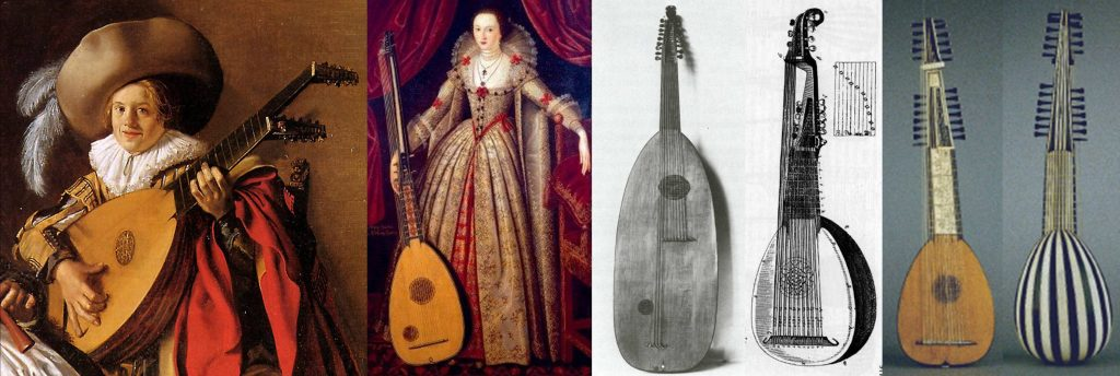 From left to right: Chitarrone in The Duet by Jan Molenaer, c.1630. Theorbo held by Mary Sidney, Lady Wroth, in a painted attributed to John de Critz, c. 1620. An experimental archlute, designed in 1594 by Alessandro Piccinini and made by Wendelin Tieffenbruchar. This failed because the basses, being played in the middle of the string length, had a weak sound. What the archlute became, as engraved in Marin Mersenne's Seconde Partie de L'Harmonie Universelle (1637). Original liuto attiorbato made by Matteo Sellas, 1638, front and back views.