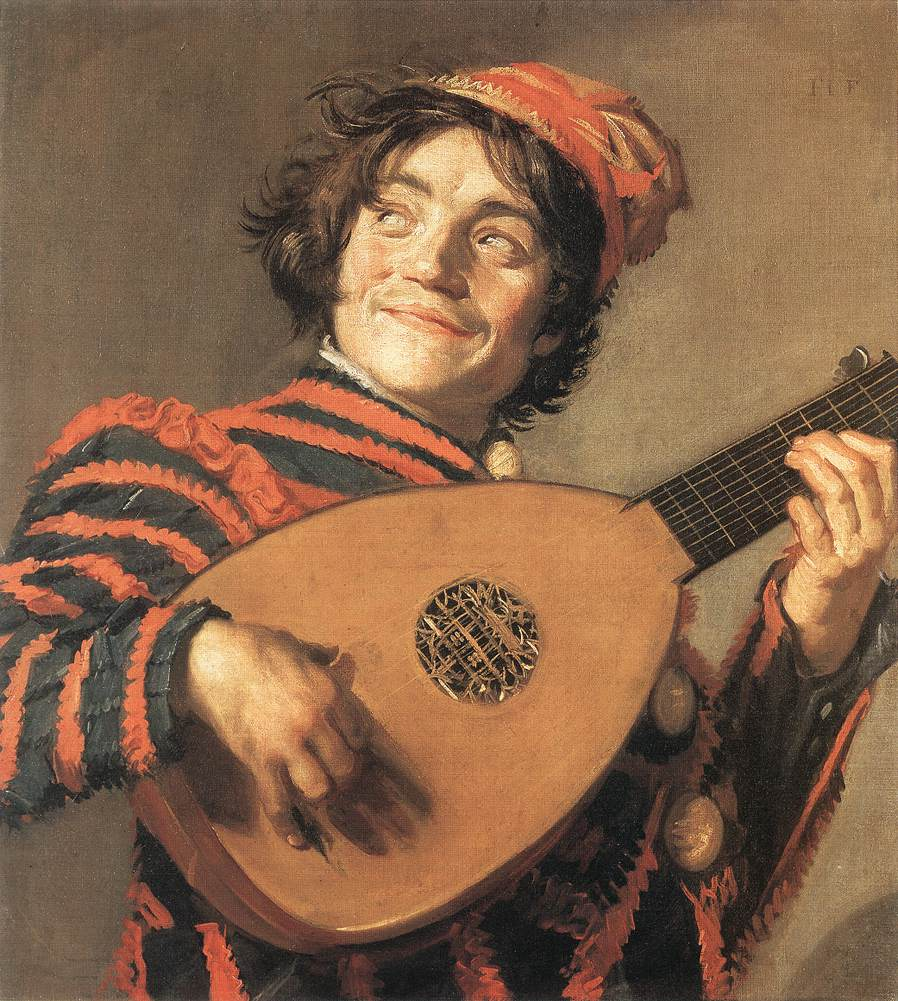 Frans Hals' painting of 1623, Buffoon playing a lute, is a good illustration of 'thumb outside'. Since the lutenist is still playing a 6 course lute in 1623, more than two decades after 10 course lutes were available, it also shows that not everyone followed the trend for increasing numbers of diapasons or basses.