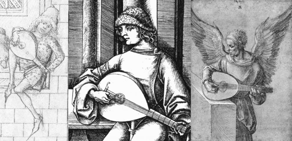 The change from quill playing to finger playing came gradually and unevenly, but was eventually universal. If we take Germany as an example, from left to right, in chronological order: finger player, from the housebook of Wolfegg Castle, 1480, anonymous artist; plectrum player in a print by Israhel van Meckenem, c. 1495; finger player in a print by Albrecht Dürer, 1497.