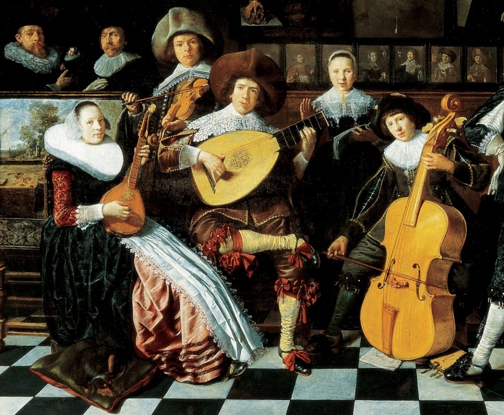 Detail from Jan Miense Molenaer, Family Making Music, Netherlands, 1630s, showing a harpsichord (far left), cittern, violin, 10 course lute, singer, and baroque cello.