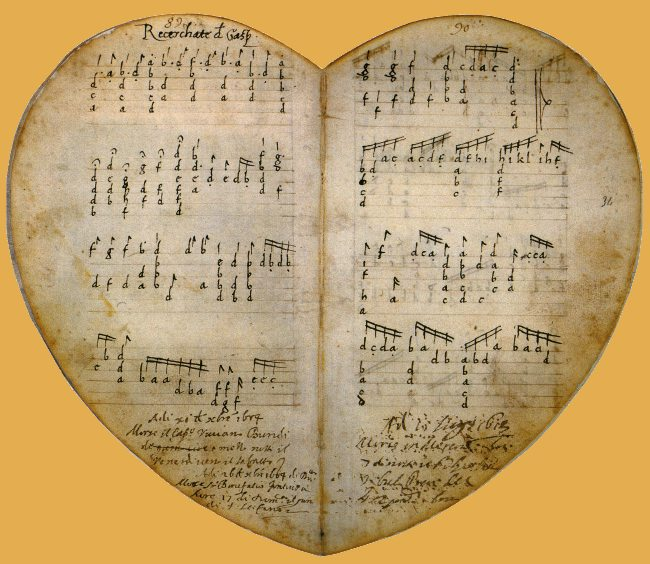Two pages from the heart-shaped Pesaro manuscript, an Italian book of lute music dated c. 1499, the earliest surviving example of French tablature.