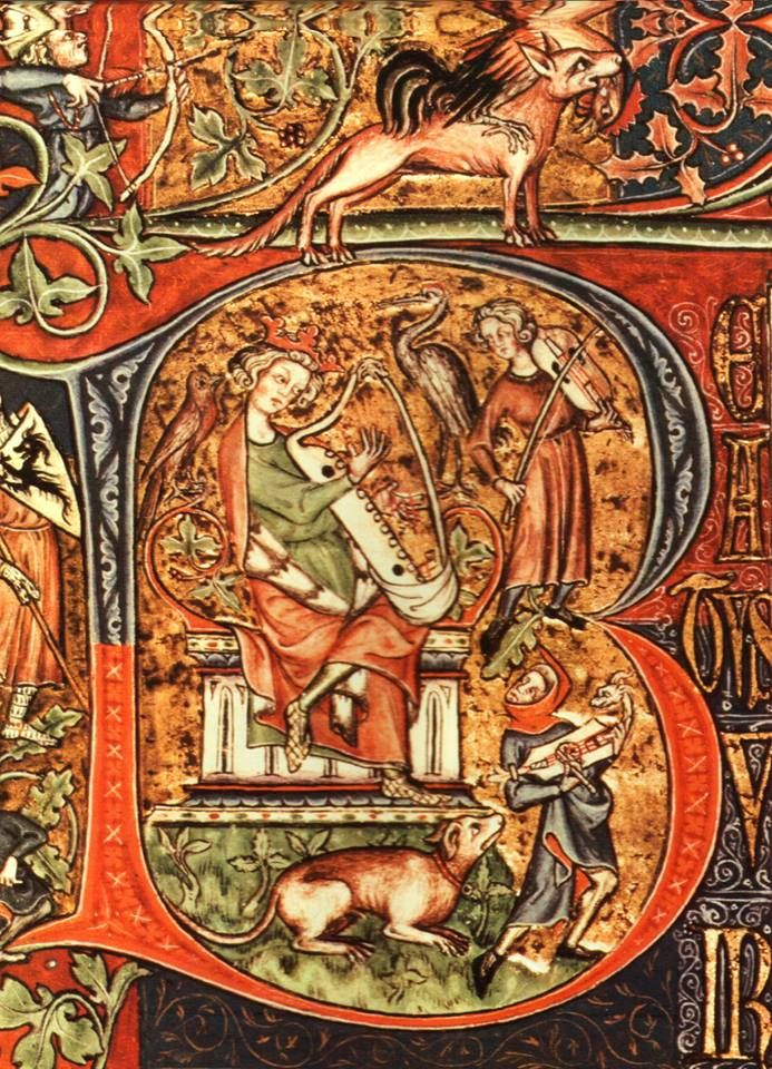 A depiction of a bray harp played by King David in the Peterborough Psalter, 1310–20, contemporaneous with bryd one brere. You also see a medieval fiddle and a citole.