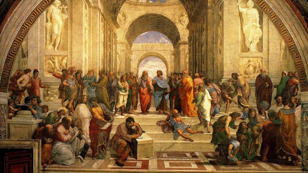 The School of Athens, a fresco in the Vatican painted 1509–1511 by Raphael (Raffaello Sanzio da Urbino), a vivid illustration of the idea of renaissance.