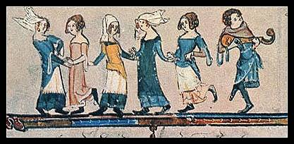 Gittern player with dancers, from the early 15th century.