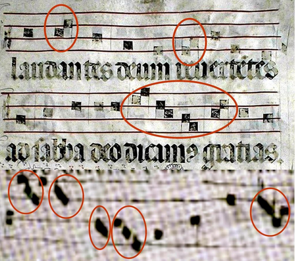 Above we see groups of neumes close together and touching, indicating melismata, from the Miller Nichols book, containing Gregorian chant from the 10th to the 16th centuries. Below we have the same in bryd one brere, written in a much rougher fashion, at times difficult to discern.