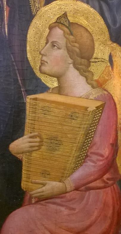 Italian painter Tommaso del Mazza, known as the Master of Santa Verdiana, fl. 1377-1392, illustrated a psaltery which is triple-strung throughout. The painting is now in the Musée de Petit Palais, Avignon. Thanks to Gill Page for permission to use her photograph.