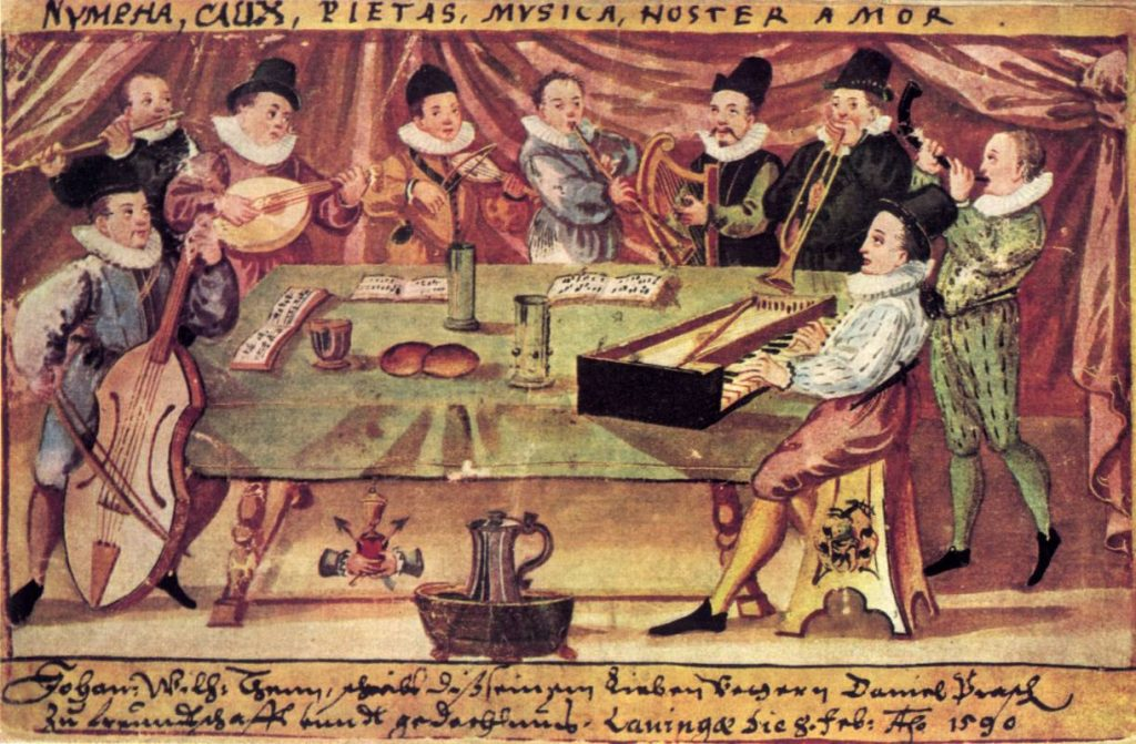 A German broken consort, the picture labelled 1590, including a rebec player fourth from the left.