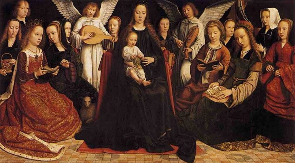 Duetting lute and rebec in Gerard David's The Virgin among angels, Netherlands, 1509.