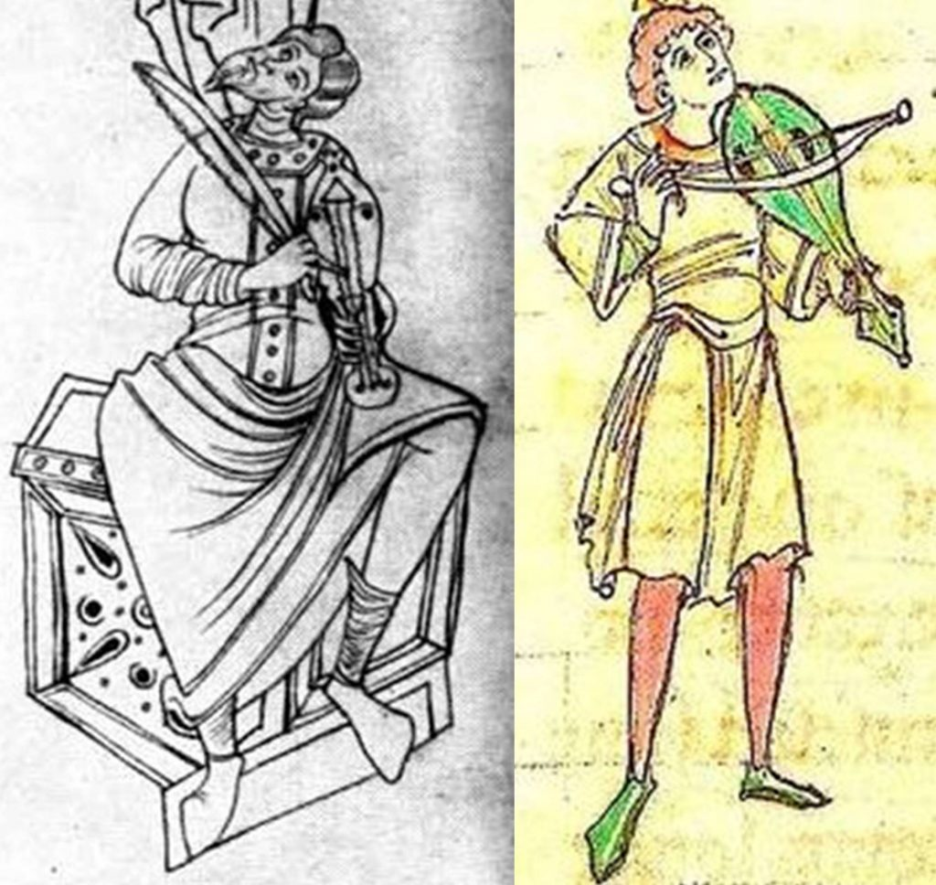 Left: The earliest example of an identifiable European rebec in the Catalan Psalter, c. 1050. There are two obvious mistakes in the drawing – no bridge and an impossibly contorted left hand – but the playing style on the arm and the shape of the instrument clearly indicates a rebec carved from solid wood. Right: Detail of a rebec player in the English manuscript, BL Arundel 91 (f. 218), a Passionale (Lives of the Saints) originating in Canterbury in the first quarter of the 12th century. Both illustrations are before the word rebec emerged in the 14th century, but they clearly are rebecs. There is a difference in the shape of the soundholes on these two instruments, and further variety is seen over time, including soundholes resembling the letters C, D, O, S, f, or E, and sometimes a decorated rose positioned halfway between the soundholes and the fingerboard.