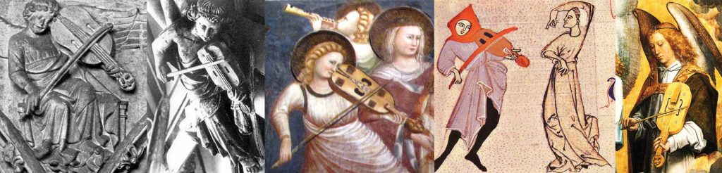A variety of sizes, shapes, strings, and bourdon / fret choices. From left to right: Lincoln Cathedral, 13th century: 5 strings, no bourdon, fretless. Gloucester Cathedral, c. 1280: 3 strings, fingerboard not visible. From the Chapel of San Nicola in Tolentino, Italy, after 1305: 5 strings, bourdon, fretless. Manuscript in Austria, c. 1300–1350 (Universitätsbibliothek Graz 32, fol. 106v): 4 apparent strings but 6 pegs, no bourdon, fretted. There are occasion depictions of 6 string vielles. Does this image suggest 6 strings in 3 or 4 courses, or is this artistic license we shouldn't take literally? Hans Memling, Antwerp, 1480s: 5 strings, no bourdon, fretted.