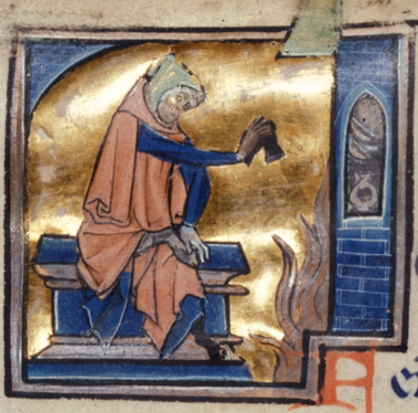 A man with his hood up, wrapped up in clothes against the cold and drying his shoe over a fire. An image from the month of February in a calendar, part of a French Psalter, Royal MS 2 B II, f. 1v, c. 1250, contemporaneous with Mirie it is.