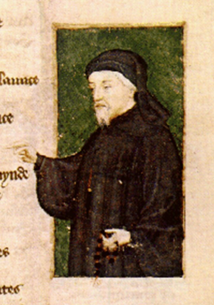 Geoffrey Chaucer as he appears in Thomas Hoccleve, The Regement of Princes, 1430-40.