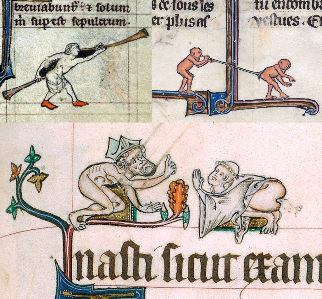 Top left: Another pair of trompettes played by one windy man, from a Book of Hours, Flanders, 14th century. Top right: I imagine the ape on the left has had enough of receiving windy offerings from the ape on the right, so he's giving some back into the appropriate pipe. From Le Livre de Lancelot du Lac, France 13th century. Bottom: Why is this bishop pointing to heaven while naked? Why is he talking to this monk while he's farting fulsomely? From the Gorleston Psalter, Norfolk, England, c. 1310–1324.