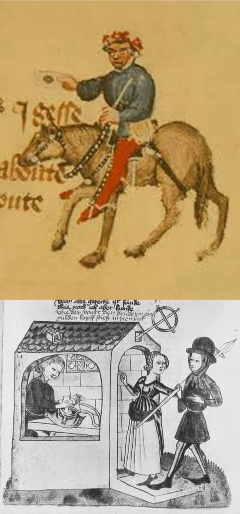 """Above: The summoner, an official in the ecclesiastical court whose task it was to summon people to attend to answer for their sins. """"A gerland hadde he set upon his heed / As greet as it were for an ale-stake."""" Below: An ale-stake was a stake or pole set up in front of, or projecting from, an alehouse, often with a large garland or bush hanging from it, the predecessor of the suspended pub sign. (Image from Konrad von Ammenhausen's Schachzabelbuch, 1337.)"""