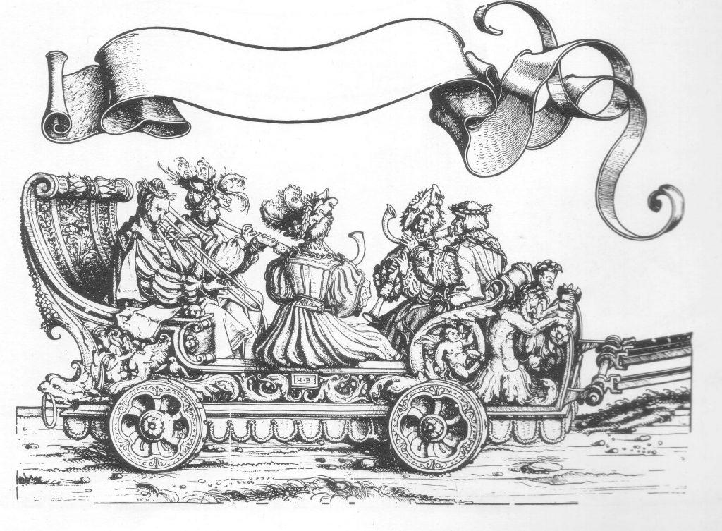 """Schalmeyen, Pusaunen vnd Krumphörner"" – shawms, sackbut and crumhorns – in the woodcut by Hans Burgkmair for Maximilian I's Triumphzug, 1516-18."