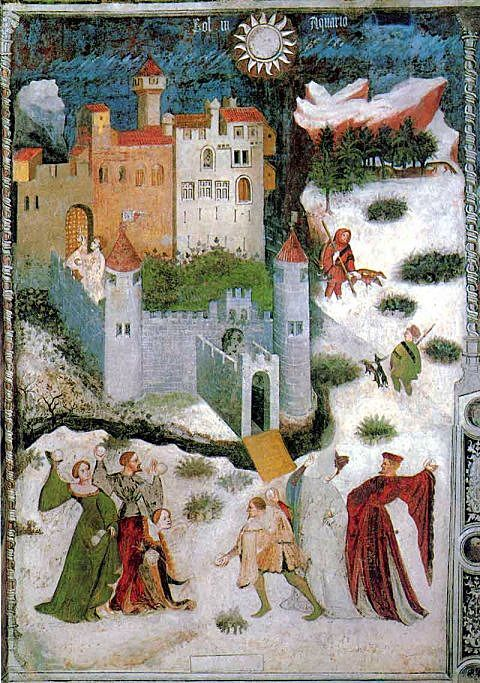 How the other half lived: the aristocracy dressed for a winter snowball fight. This is January, from a fresco representing the 12 months of the year, at the Castello del Buonconsiglio, Trent, Italy, dated 1405–1410.