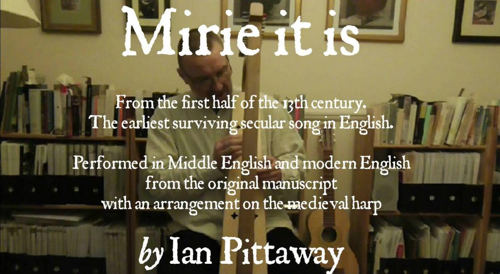 Mirie it is while sumer ilast, dated to c. 1225, performed on medieval harp by Ian Pittaway. The now-standard version doesn't follow what was written in the original sole source, so if you're familiar with the song from modern recordings, many of the notes, and indeed the opening word, Mirie, won't be what you're used to hearing. The manuscript clearly indicates the notes and words in this recording (including the three syllable Mir-i-e). The music was written in a casual hand with a pen that had a thick nib, so some of the rhythm is unclear and judgement is needed in places. Only the words and a single line melody survive, so the harp accompaniment is by Ian Pittaway, created using medieval musical principles.