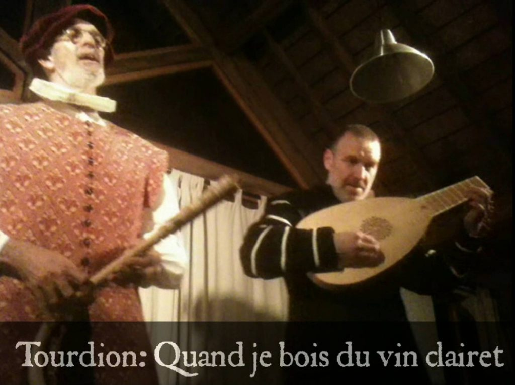 (Click to play video – opens in new window.) Crumhorn played by Andy Casserley, lute by Ian Pittaway, together as The Night Watch, playing their arrangement of the 16th century French traditional song/dance tune in the form of a tourdion, Quand je bois du vin clairet / When I'm drinking claret. The combination of crumhorn and lute is also seen in Presentation of Christ in the Temple by Italian painter, Vittore Carpaccio, 1510, shown below.