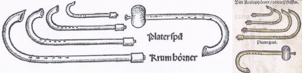 """2 German illustrations of the crumhorn consort. Left: From Sebastian Virdung, Musica getutscht, 1511, showing 4 crumhorn sizes, though the text describes only 3. Could the smallest be Corteccia's stortina and Praetorius' exilent? Next to them is a """"Platerspil"""", a bladder pipe. Bottom left: Illustrations identical to Virdung but reversed in Martin Agricola, Musica instrumentalis Deudsch, 1529, also with a """"Platerspiel"""", a bladder pipe."""