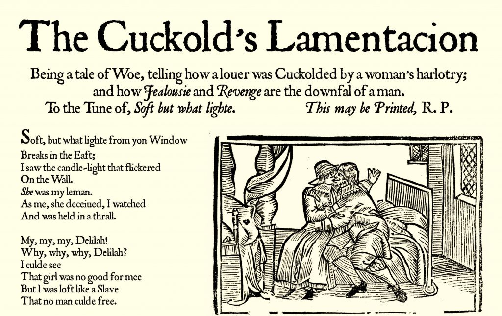 The first part of The Cuckold's Lamentacion, dated not later than 1574, found in the back leaf of the Thomas Jones Woodward manuscript.