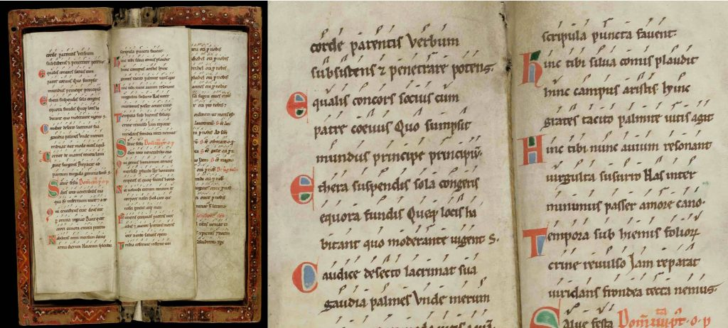 A Processional, a hymn book carried in processions, from the Benedictine monastery of Saint Gall (Sankt Gallen), Switzerland, dated to c. 1150. It measures a narrow 25.5cm x 8cm so that it can be easily carried in one hand by a singing monk, and shows early neumes without precise pitch. (This image of St. Gallen, Stiftsbibliothek, Cod. Sang. 360, is licensed from e-codices.)