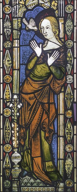 The Annunciation of Mary in a window of 1340 in Ely Cathedral, Cambridgeshire.